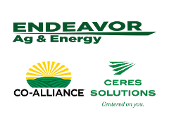 Logo for Endeavor Ag & Energy above the Co-Alliance logo and Ceres solutions Logo